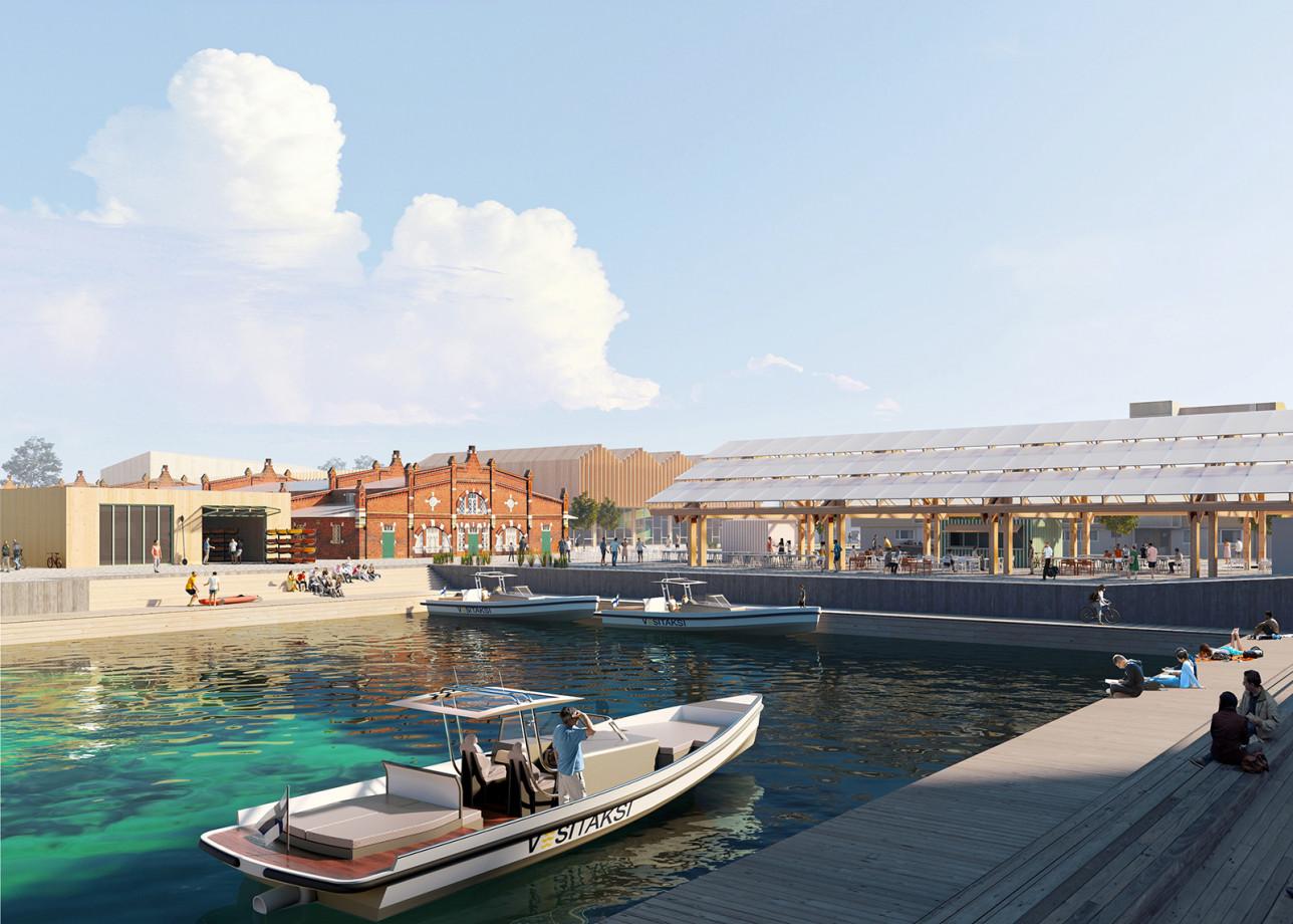 Visiokuva Linnanniemen kilpailutyöstä Kolme palaa. Kuvassa näkyy veneitä ja satama-allas ympäristöineen.