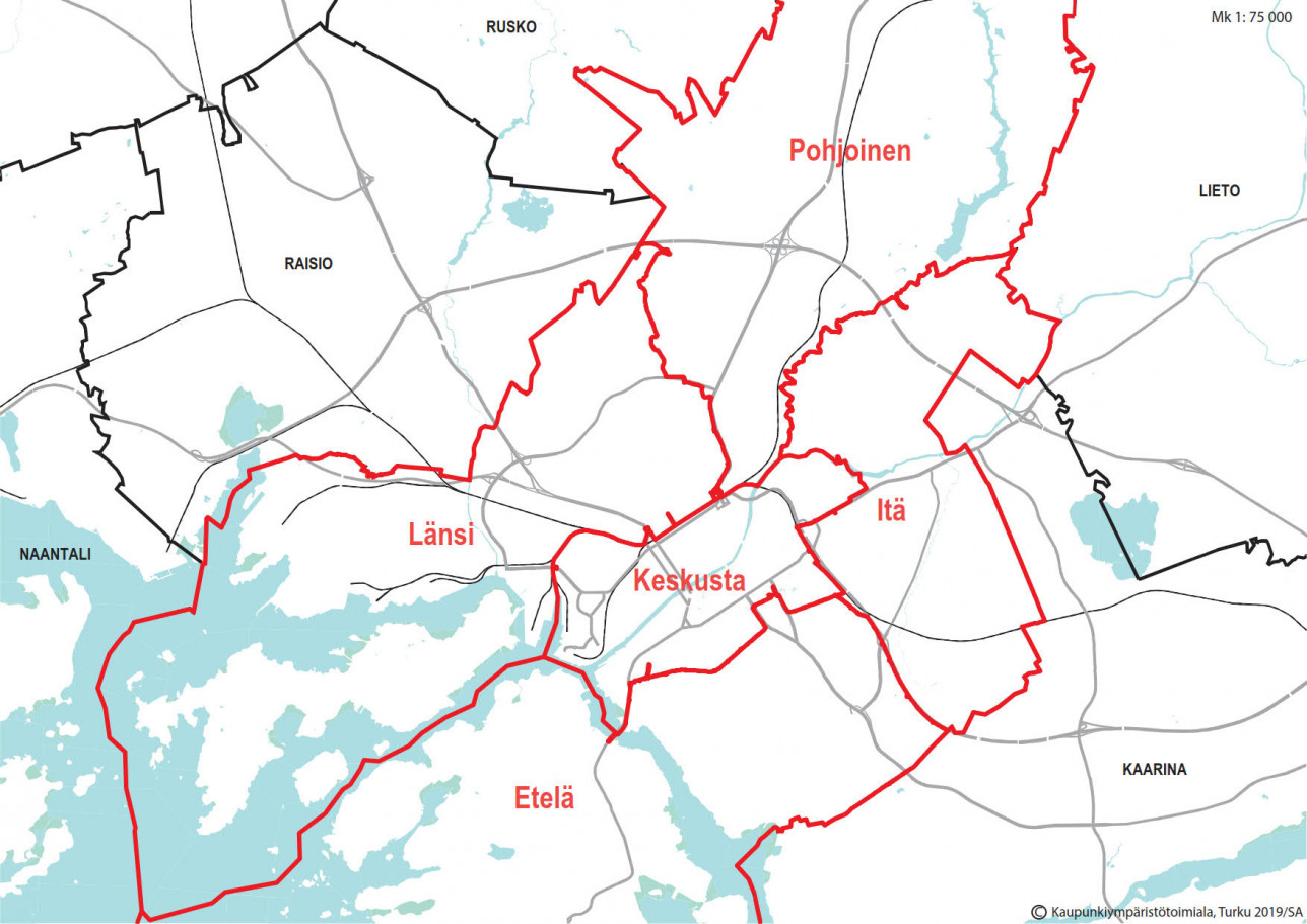 Kaupungin kunnossapitoalueiden aluejako kartalla.