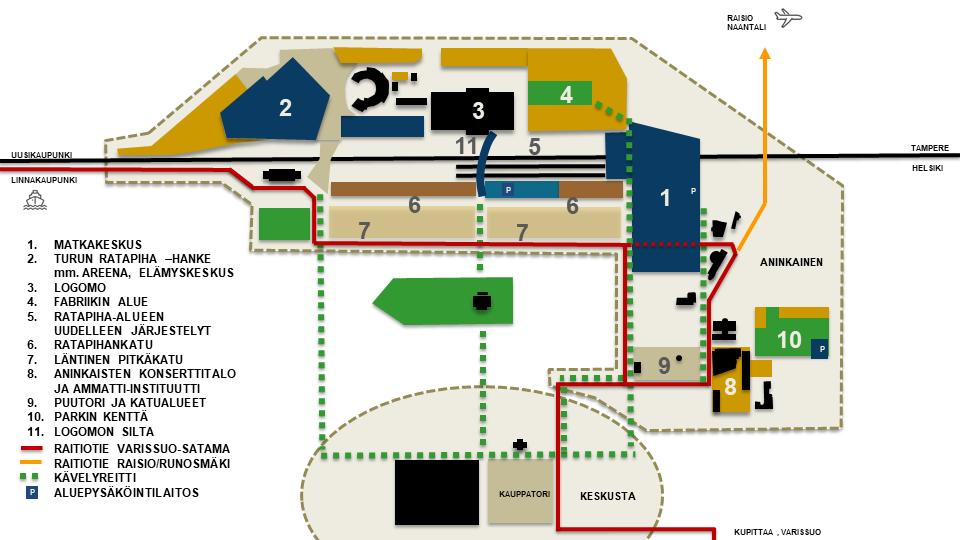 Piirros, johon on sijoitettu ja listattu Aninkaisten alueen hankkeet
