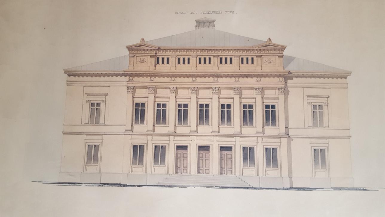 Piirroskuva Suomen vanhimmasta teatterirakennuksesta Åbo Svenska Teaterista
