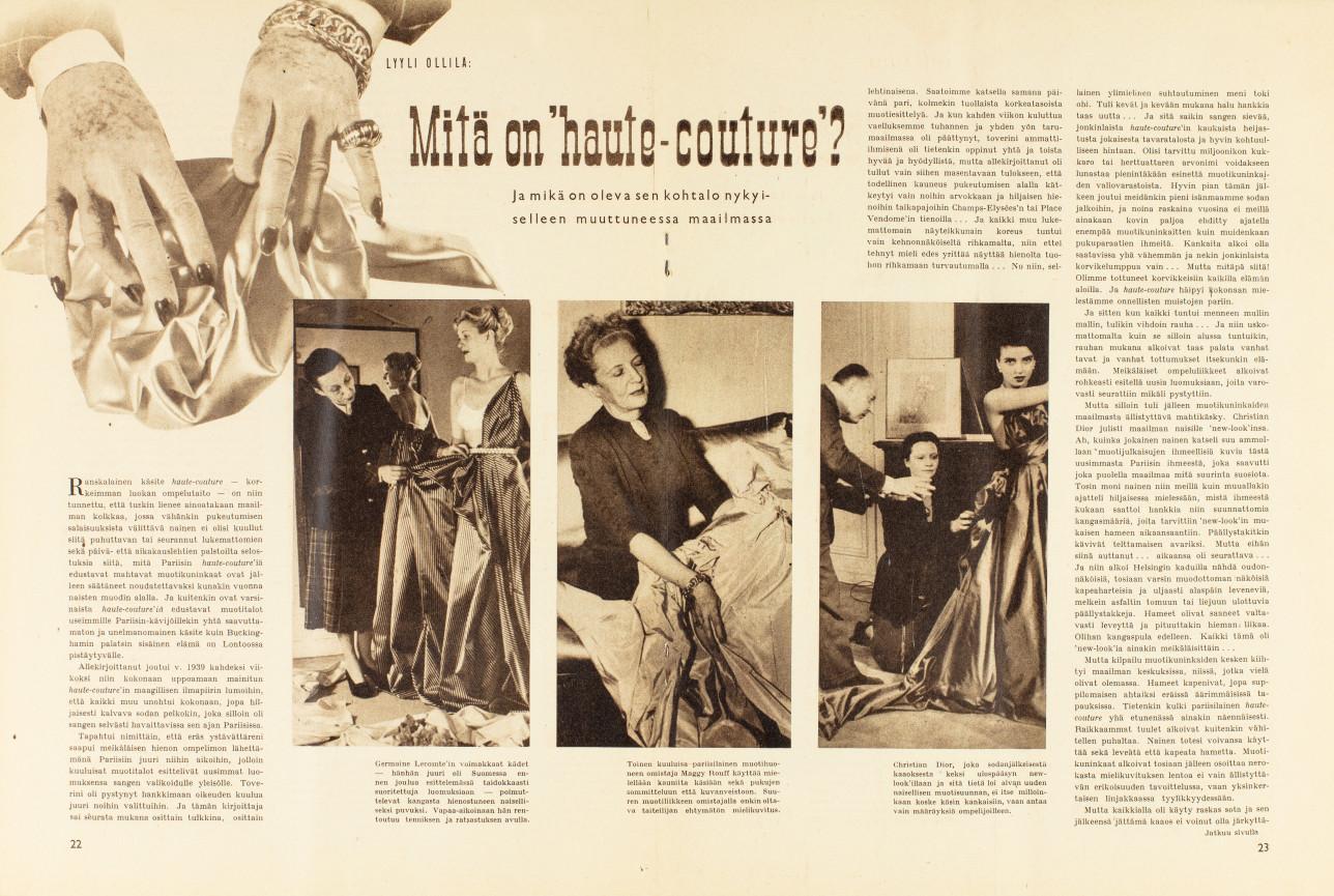 Artikkeli Mitä on 'haute-couture'? Hopeapeili. Helmikuu 1952. Kolme kuvaa, joissa ompelijat sovittavat mekkoja malleille ja viimeistelevät niitä samalla.