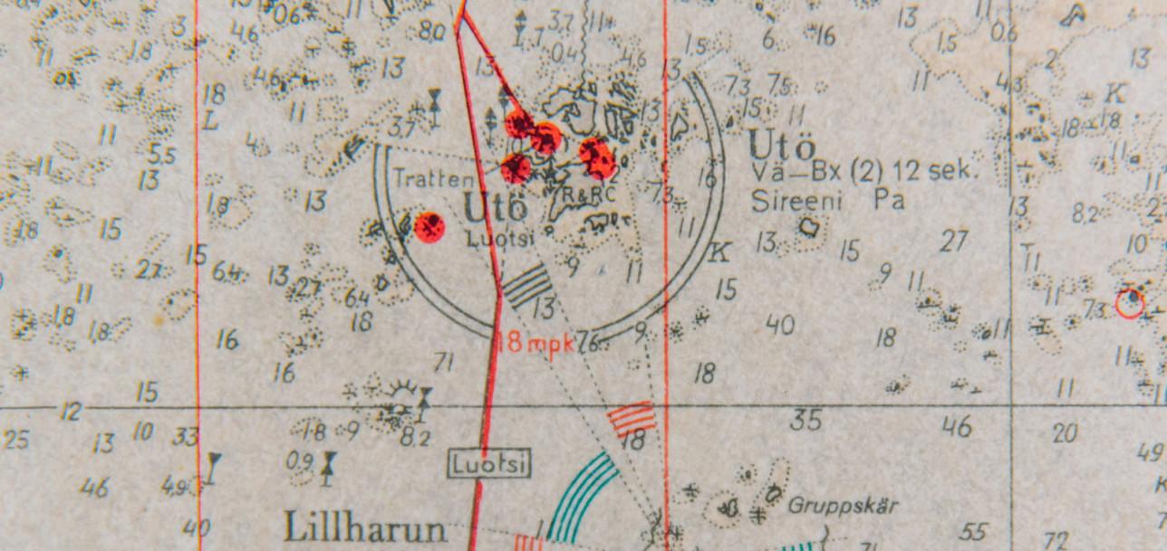 Yksityiskohta vanhasta merikartasta, keskellä kuvaa näkyy Utö.