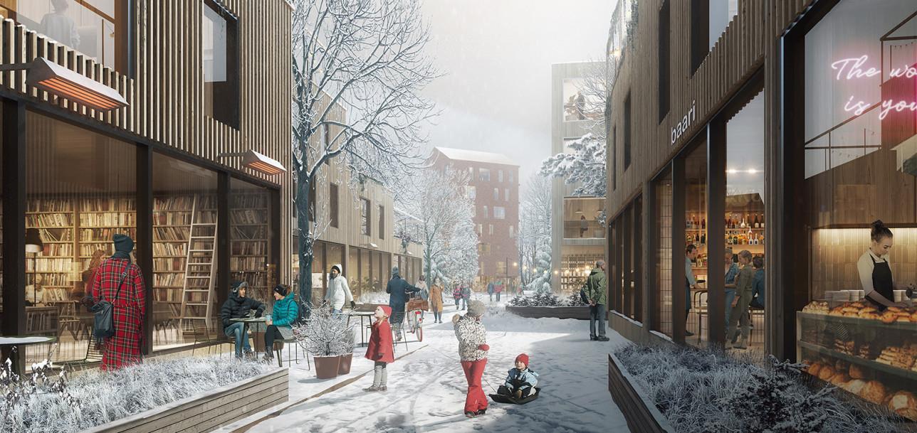 Talvisessa näkymässä ihmisiä ja uusia rakennuksia, joissa mm. kahvila.