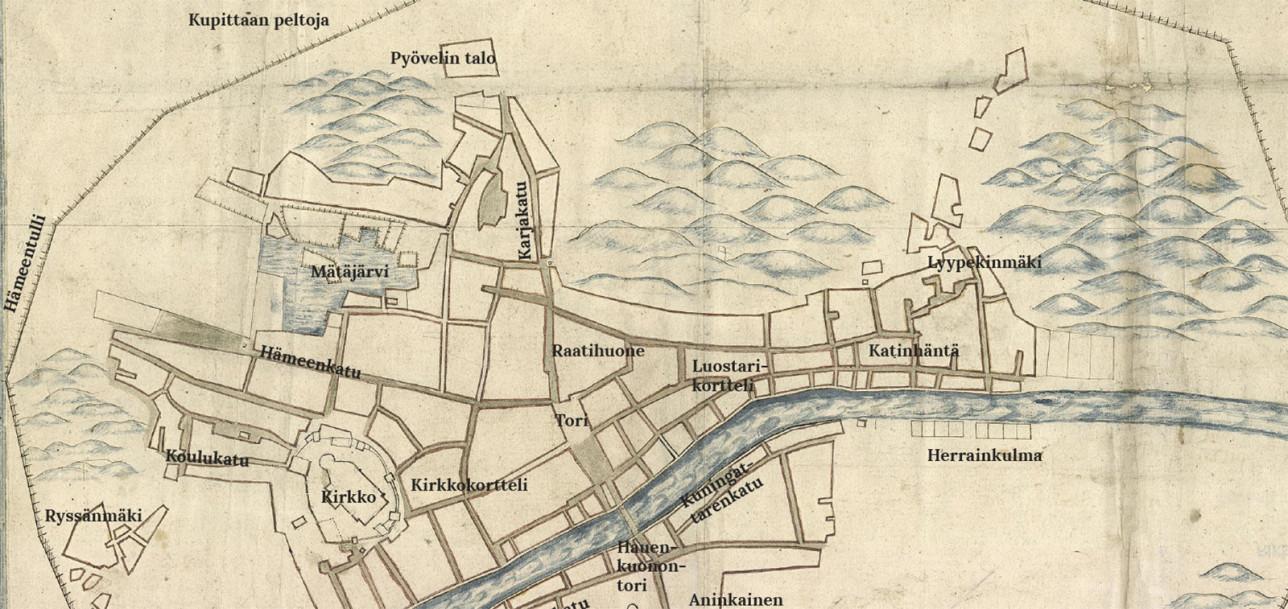 Osa vanhasta kartasta, jossa näkyy 1600-luvun keskeisiä paikkoja Turussa,
