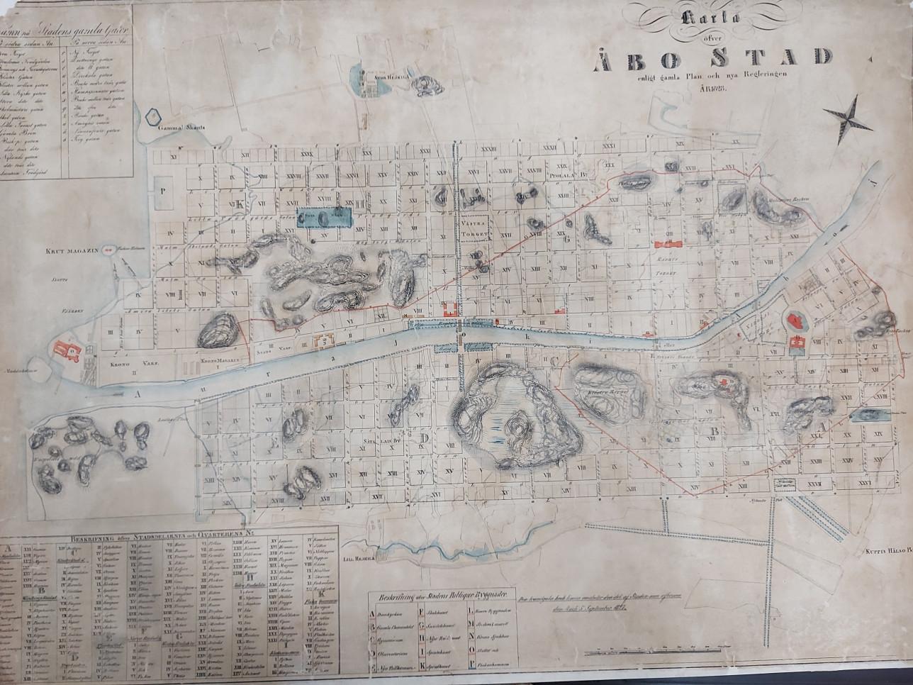 Turun kartta, jossa keskellä virtaa sinisellä Aurajoki.