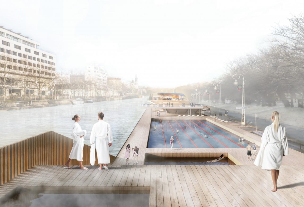 Toiminnallinen kulttuurikylpylä sisältää kolme uima-allasta: 25-metrisen ison altaan, pienemmän lasten altaan ja jokivesialtaan.