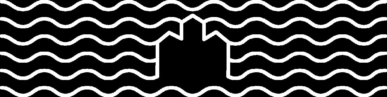 Linnanniemen graafiista kuvitusta: Linna ja aaltoja