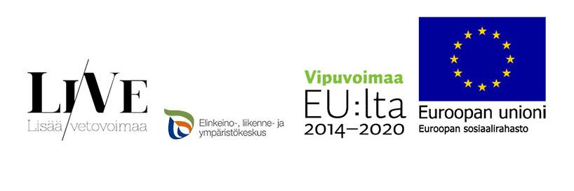 Logot: Lisää vetovoimaa, ELY-keskus, Vipuvoimaa EU:lta ja Euroopan sosiaalirahasto.