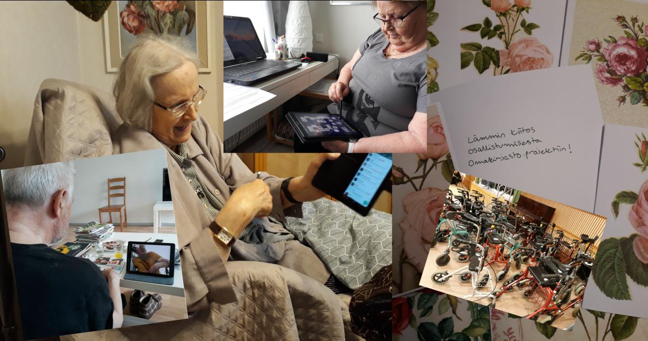 Kuvia senioreista ja tietoteknisistä laitteista