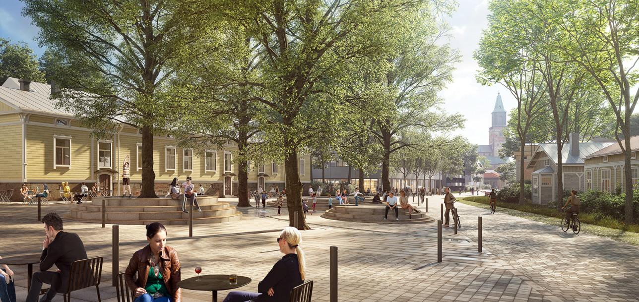 Ihmisiä istuskelemassa puistikkoaukiolla.