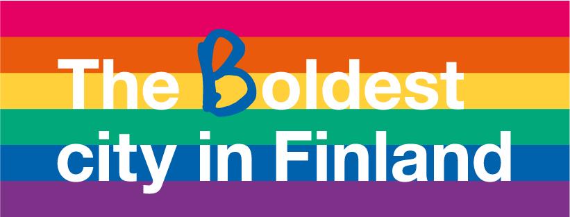 The (B)oldest city in Finland -teksti sateenkaarilipulla