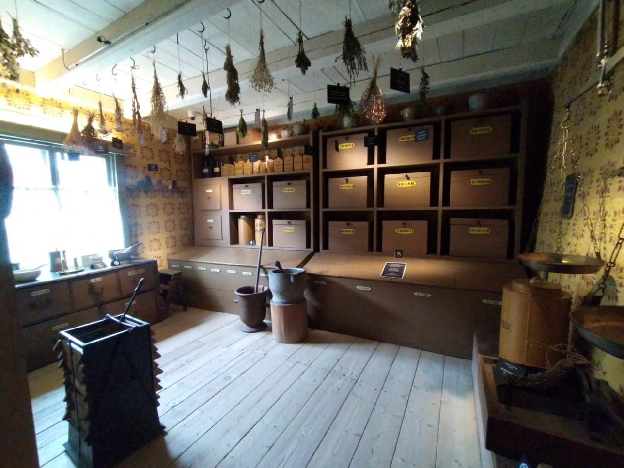 Apteekkimuseon sisätila. Katosta roikkuu kuivattuja yrttikimppuja, taustalla tummaa puuta olevia hyllyjä. Vasemmalla olevasta ikkunasta lankeaa valoa huoneeseen