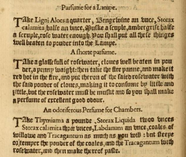 Ote Alessio Piemontesen (Girolamo Ruscelli) ohjekirjan englanninkielisestä käännöksestä, William Ward, 1595.
