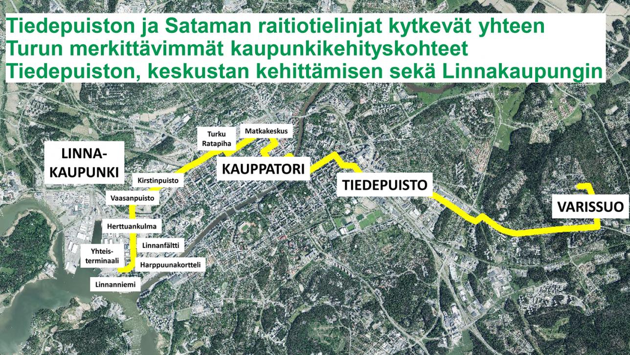 Kartta raitiotielinjauksista