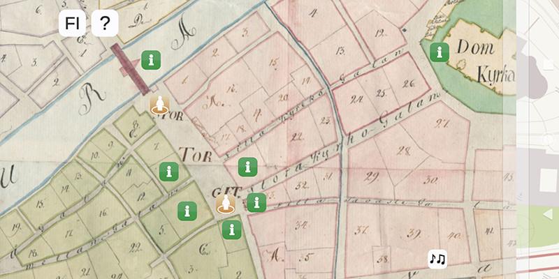 Turku goes 1812 -sovelluksessa historialliset kartat kohtaavat nykyajan Suurtorin.