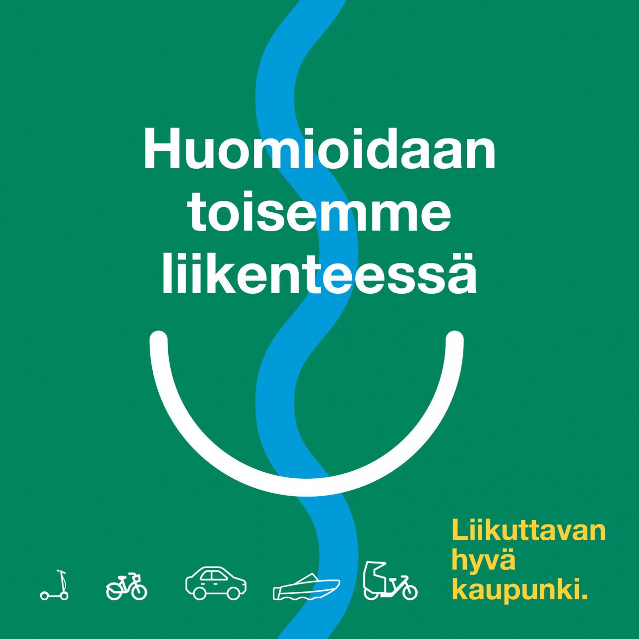 Viestintäkampanjan graafinen tunnuskuva tekstillä Huomioidaan toisemme liikenteessä