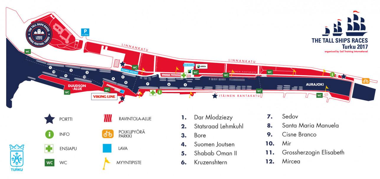 Tall Ships Races 2017 aluekartta