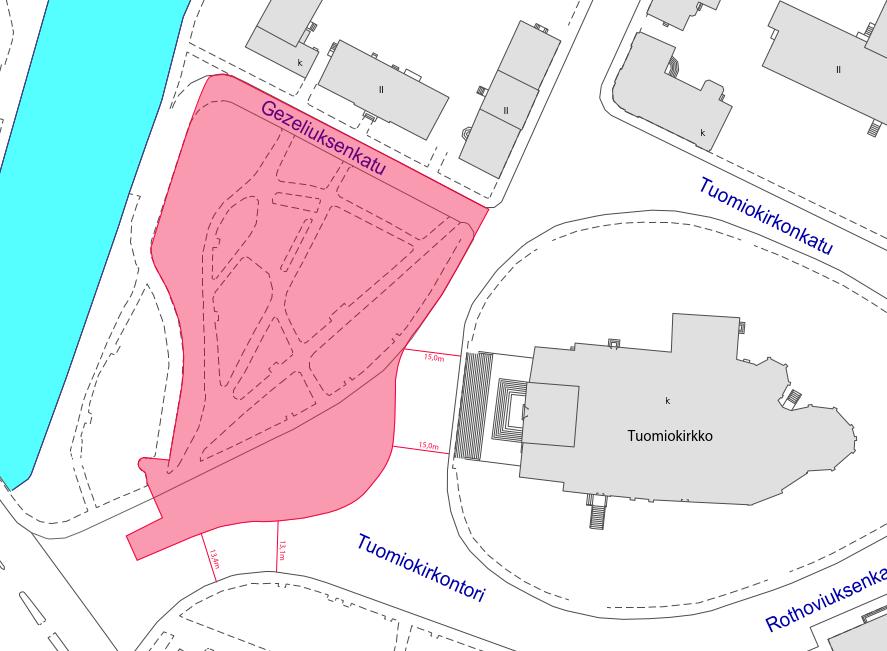 Tuomiokirkkopuiston terassialueen rajaus kartalla