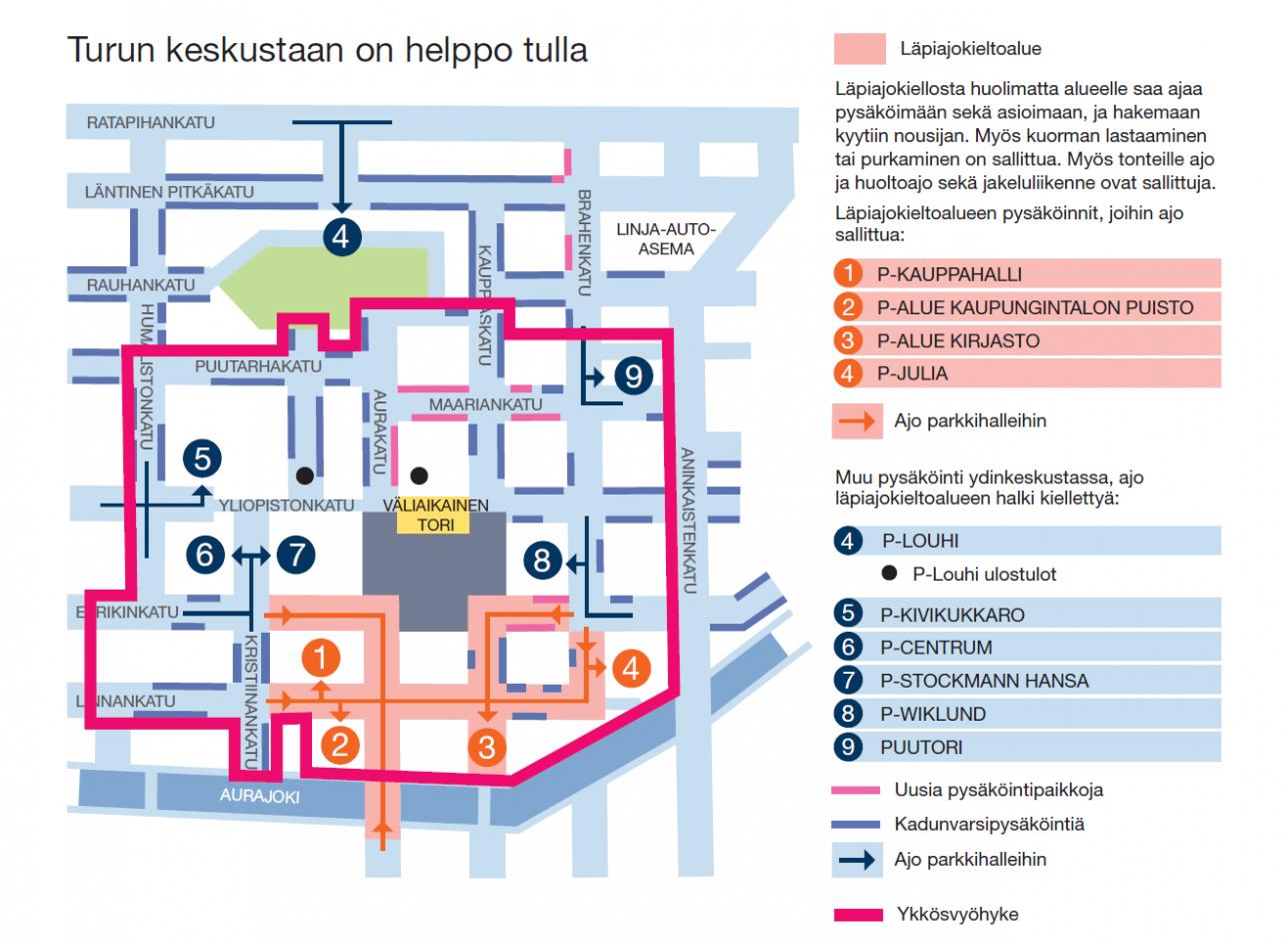 Kartta ja ohjeet pysäköinnistä Turun keskustassa.