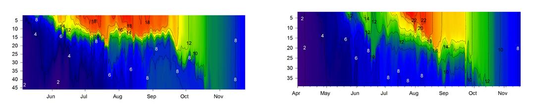 Veden lämpötila vuonna 2013 ja 2014.