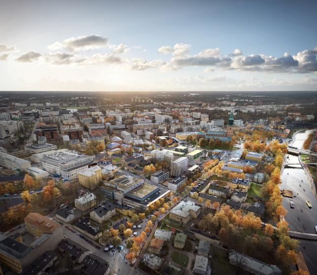 Visioitu ilmakuva vanhankaupungin suunnitelma-alueesta.