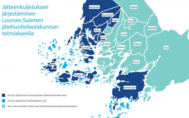 Kartta jätteenkuljetuksen järjestämisestä Lounais-Suomessa