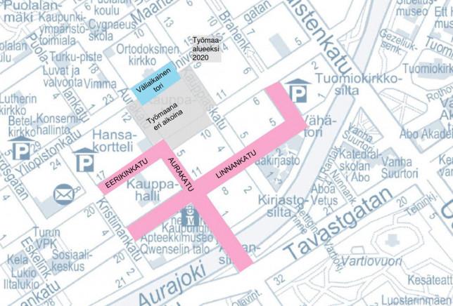 Kuvassa keskustan läpiajokieltoalueet kartalla