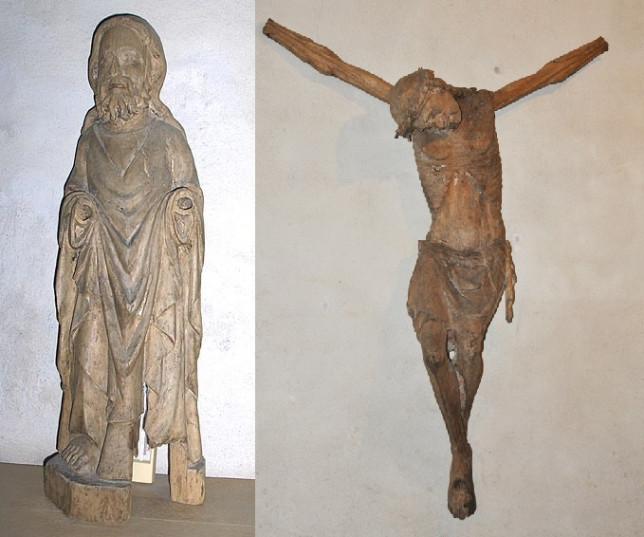 Tuntematon apostoli (TMM4819), ja 1300-luvun jälkipuolelle ajoitettu krusifiksi (TMM4737)