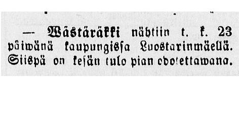 Vanha sanomalehti, jossa teksti: Wästäräkki nähtiin 23 päivänä Luostarinmäellä. Siispä on kesän tulo pian odotettawana.
