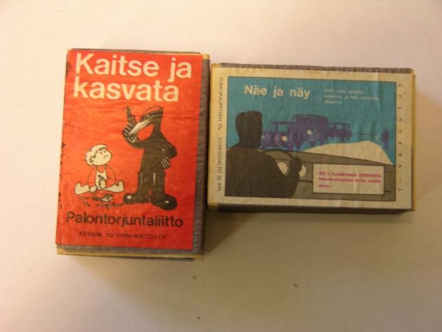 Kaitse ja kasvata -tekstillä varustettu rasia ja Näe ja näy-tekstinen rasia, jonka kuvassa mies autolla liikenteessä.