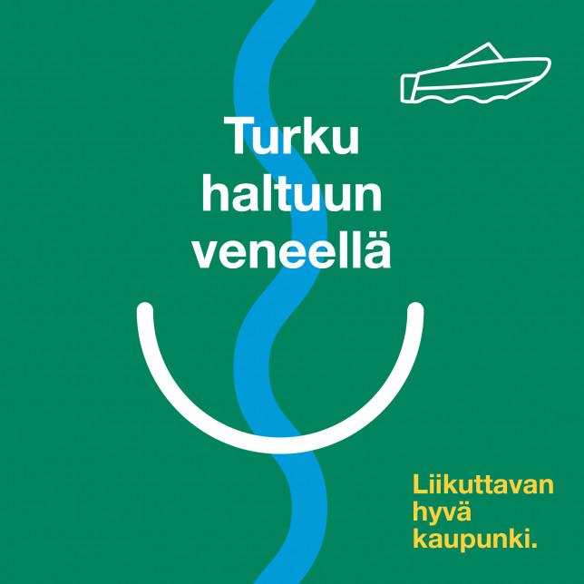 Grafiikka jossa joki ja veneen kuva sekä teksti Turku haltuun veneellä