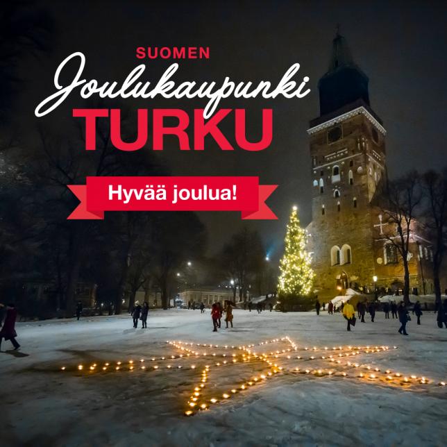 Joulukaupunki Turku toivottaa hyvää joulua. Tuomiokirkkotorilla tähtikuvio kynttilöistä.