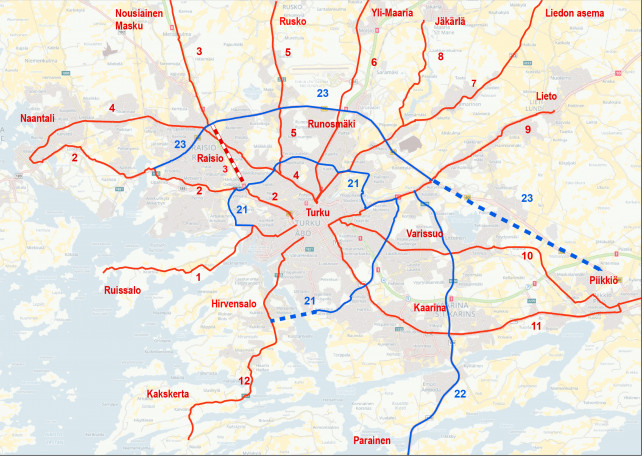 Karttakuva, johon on piirretty Turun seudulliset pyörätiet.