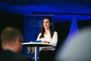 Sanna Marin puhuu vuoden 2021 Eurooppa-foorumissa