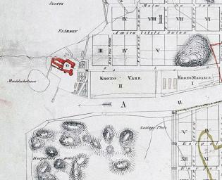 Kartta linnanaukon alueelta vuodelta 1828