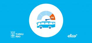 Graaffinen mainoskuva Föli-bussien 5G-yhteydestä.
