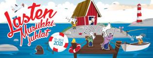 Lasten musiikkijuhlat, kuvituskuva. Kuvassa eläinhahmoja merellisessä maisemassa.
