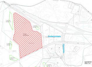 Kuvassa kartta Blue industry parkin puiden kaatoalueesta