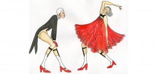 Pukuluonnos Cbaaret-musikaaliin, piirtänyt Heidi Wikar