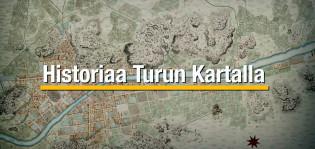 Turun vanha kartta, jonka päällä teksti Historiaa Turun kartalla.