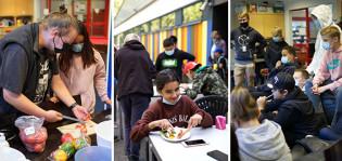 Kolmen kuvan kollaasi, joissa tehdään ruokaa, syödään ja pelataan pelikoneella.