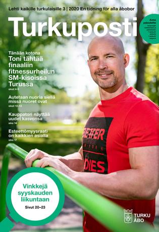 Turkupostin 3, 2020 kansikuvassa fitnessurheilija Toni Vekka ulkokuntosalissa