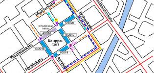 Rajattu kuva Kauppatorin alueen liikennejärjestelyistä