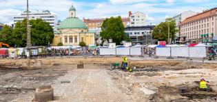 Kauppatorin arkeologiset kaivaukset vanha torin keskikatu