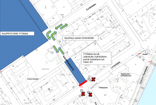 Karttakuva Kauppiaskadun työmaan liikennejärjestelyistä.