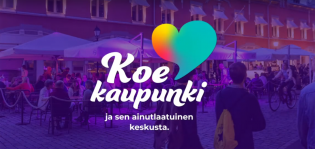 """Kampanjatunnus tekstillä """"Koe kaupunki ja sen ainutlaatuinen keskusta"""" Turku-kuvan päällä"""