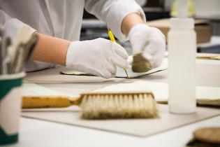 Konservaattori puhdistaa asiakirjaa