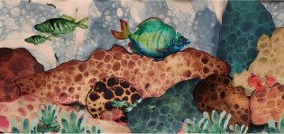 Akvarellimaalaus merenpohjasta kaloineen