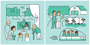 Kaksi piirroskuvaa, joissa erilaisia ihmisiä, kulkuneuvoja, laitteita ja ympäristöjä