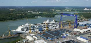 Laivaa rakennetaan Meyer Turun telakalla.